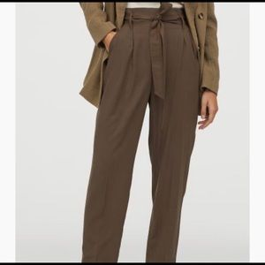 Wide leg paper bag pants in olive green
